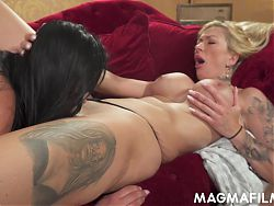 Lustful lesbians rubbing their slick quims